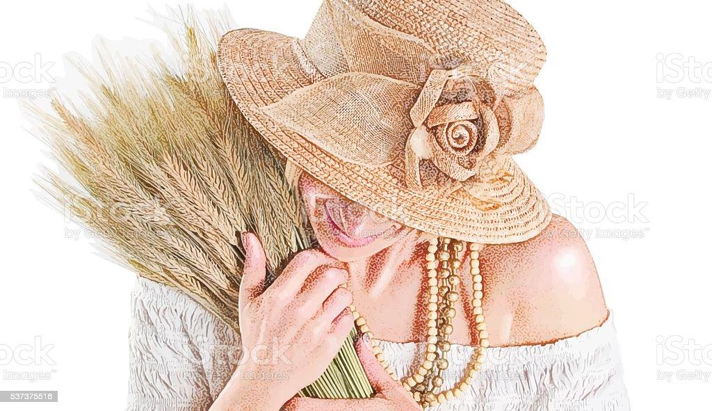 Mature Woman hugging bundle of dried wheat vector art illustration