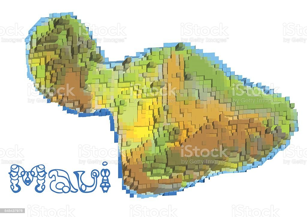 maui abstract map vector art illustration
