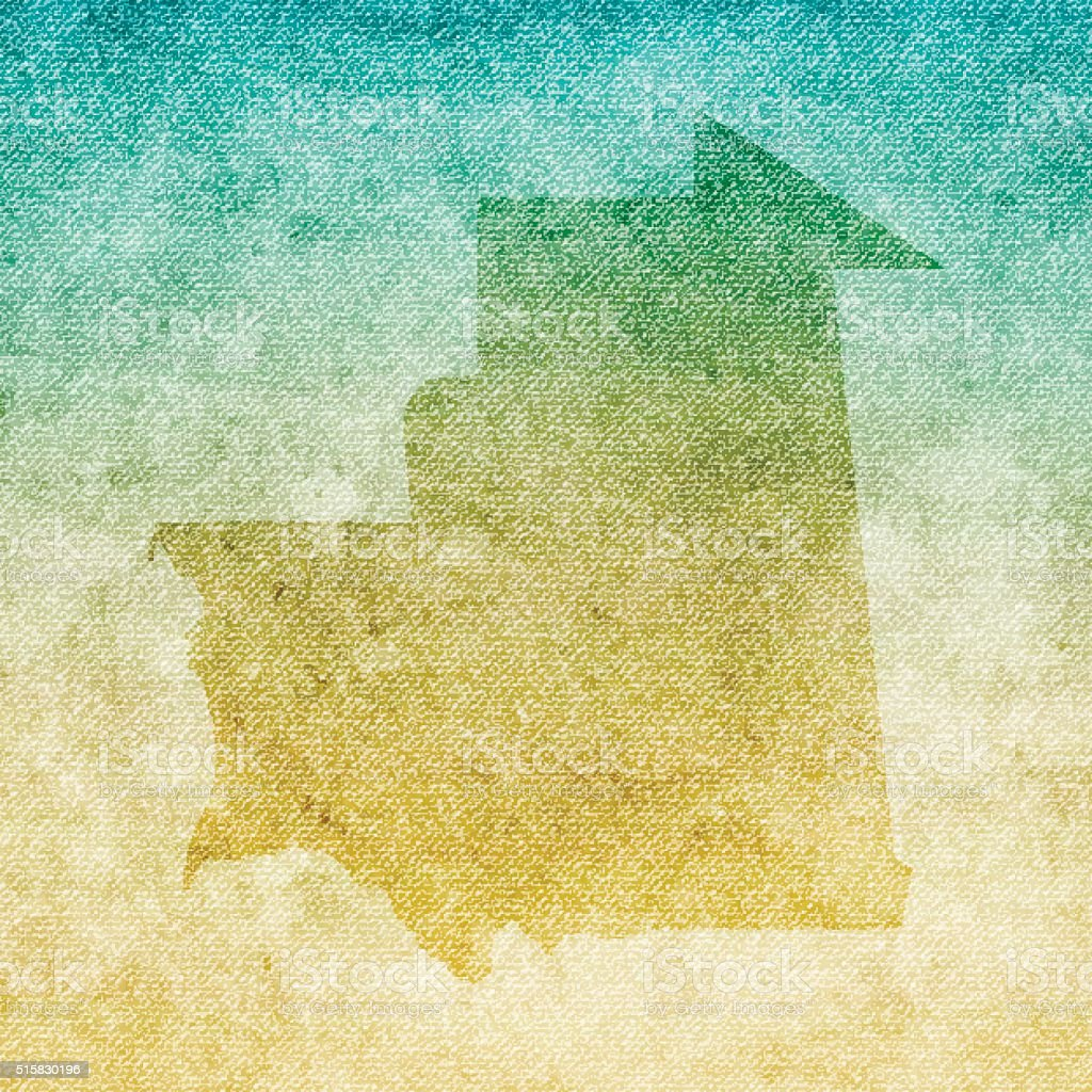 Mauritania Map on grunge Canvas Background vector art illustration
