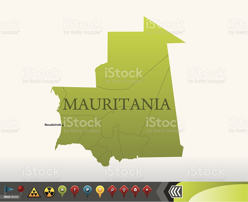Mauritania map with navigation icons royalty-free stock vector art