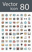 maximum set of icons in retro style with mixed color