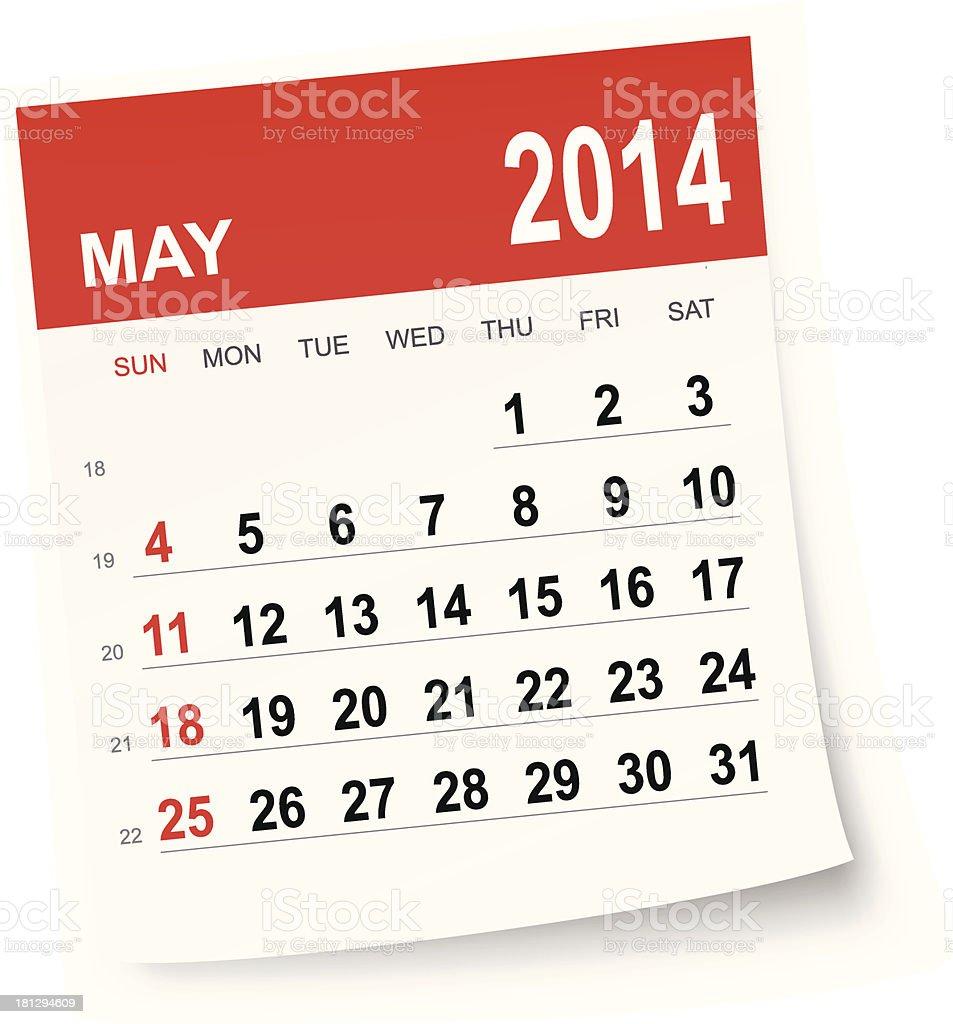 May 2014 calendar royalty-free stock vector art