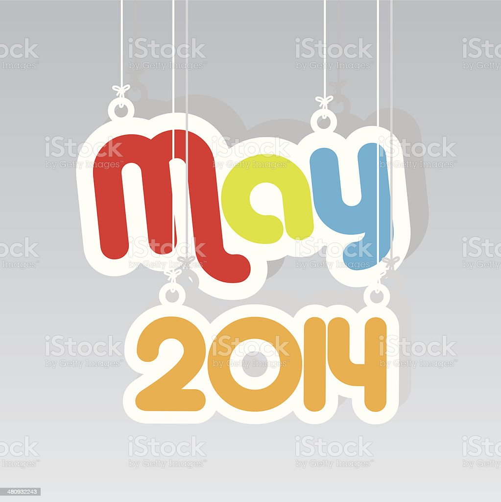 May 2014 Paper Hanging Sign.-eps10 vector royalty-free stock vector art