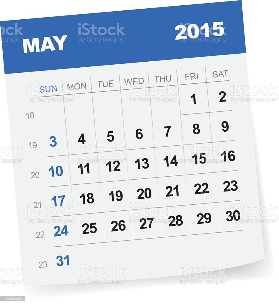 May 2015 Calendar vector art illustration