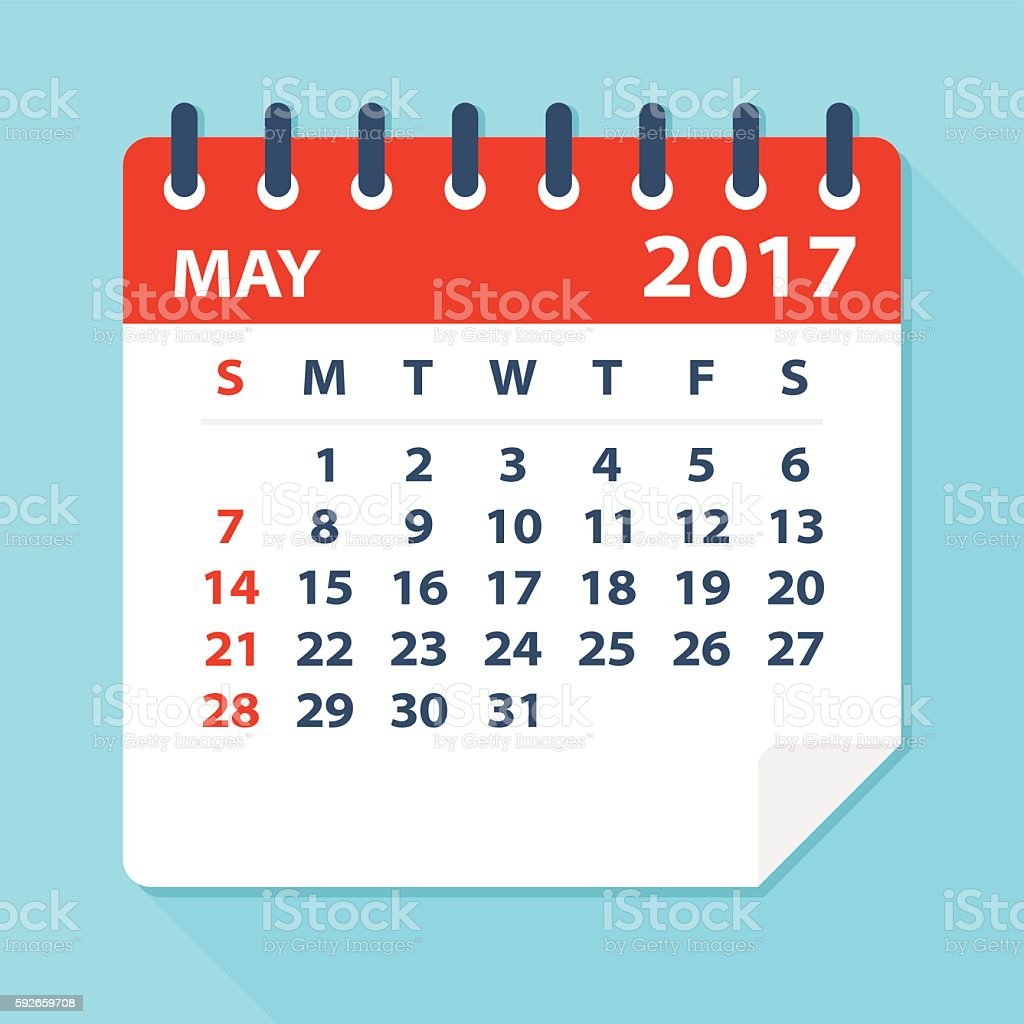May 2017 calendar - Illustration vector art illustration
