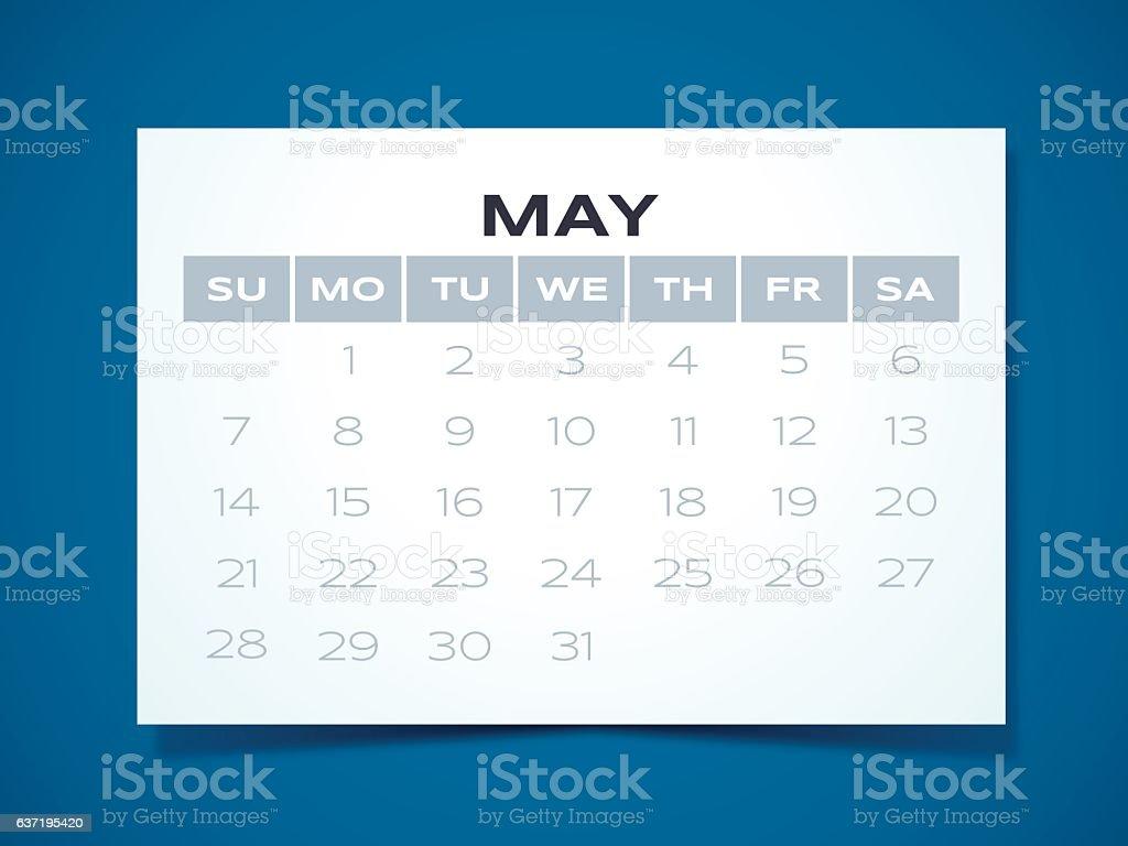 May 2017 Calendar vector art illustration