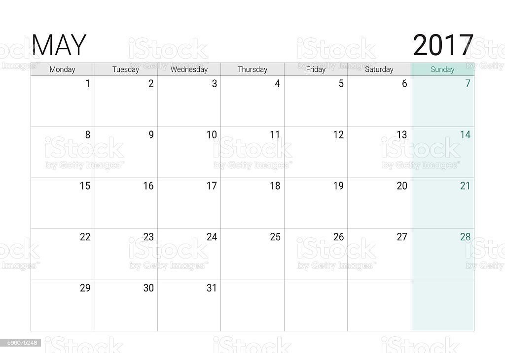 Calendar Planner May : May calendar stock vector art istock