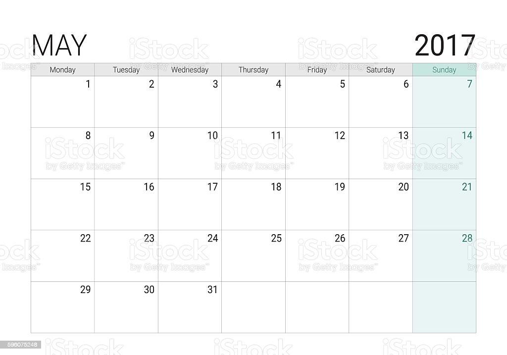 2017 May calendar (or desk planner) vector art illustration