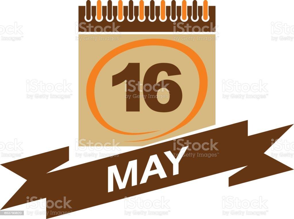 16 May Calendar with Ribbon vector art illustration
