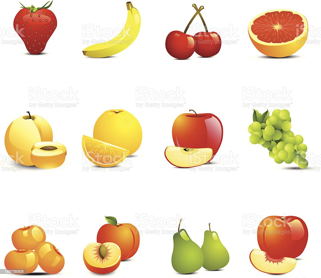 May different colorful fruit icons on white background vector art illustration