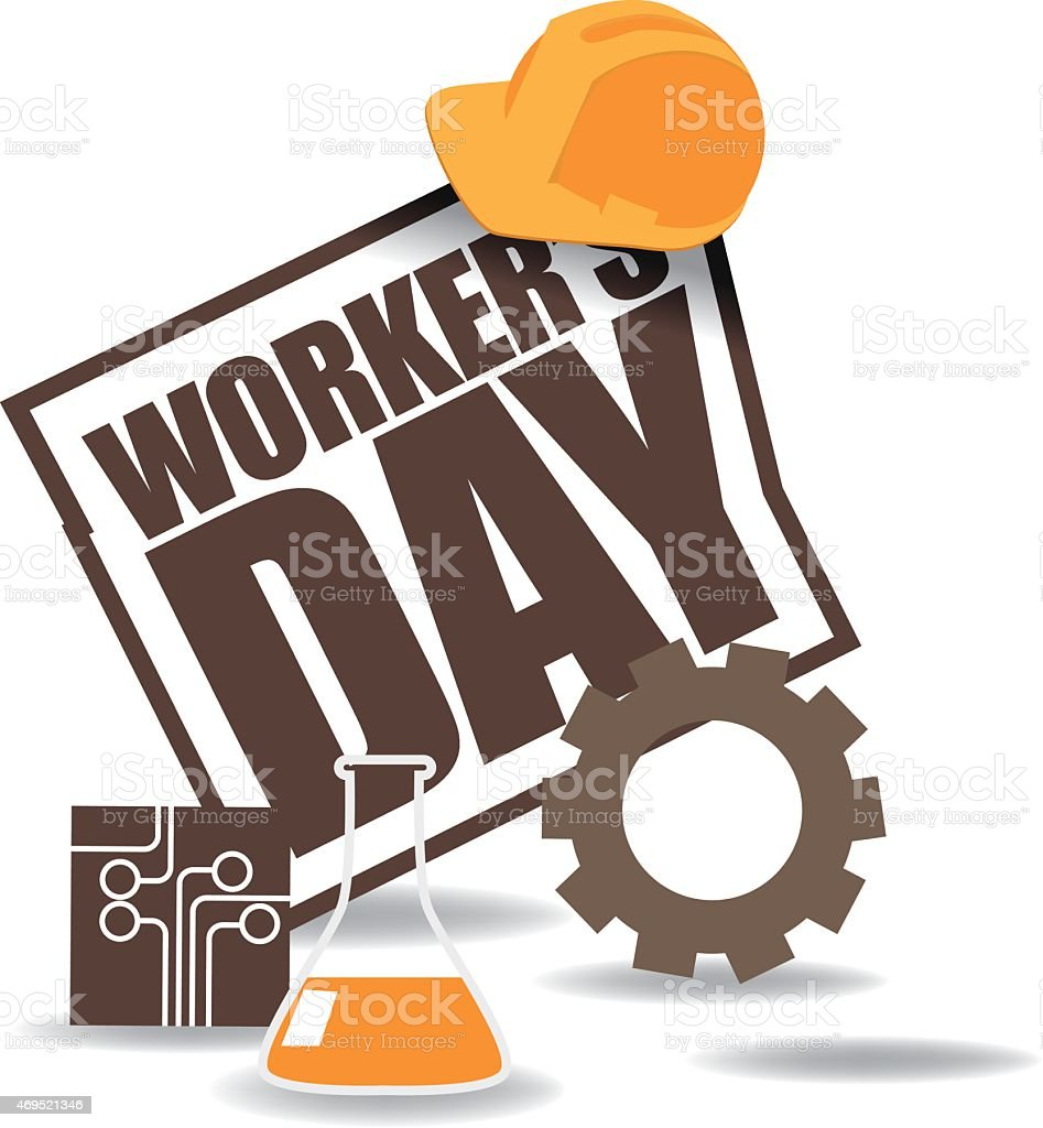 May first workers day icon EPS 10 vector vector art illustration