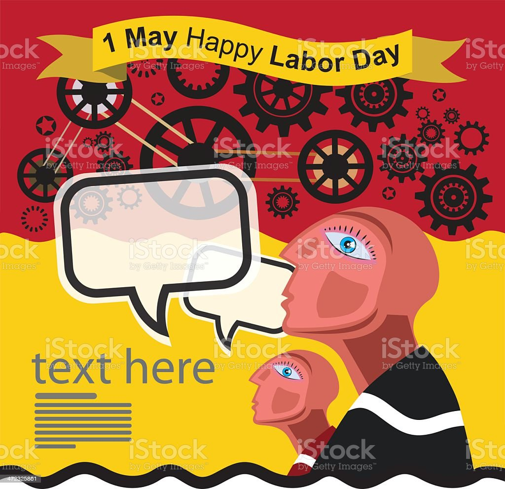 1 May Happy Labour Day Vector royalty-free stock vector art