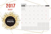 May Planner Calendar Template 2017 year.Week starts Sunday.
