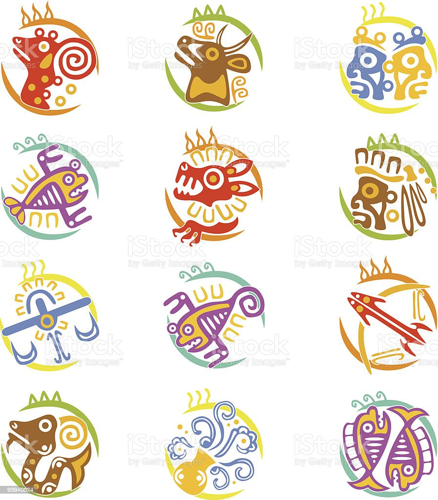 Maya art stylized zodiac signs royalty-free stock vector art