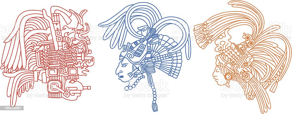 Mayan heads 1 vector art illustration