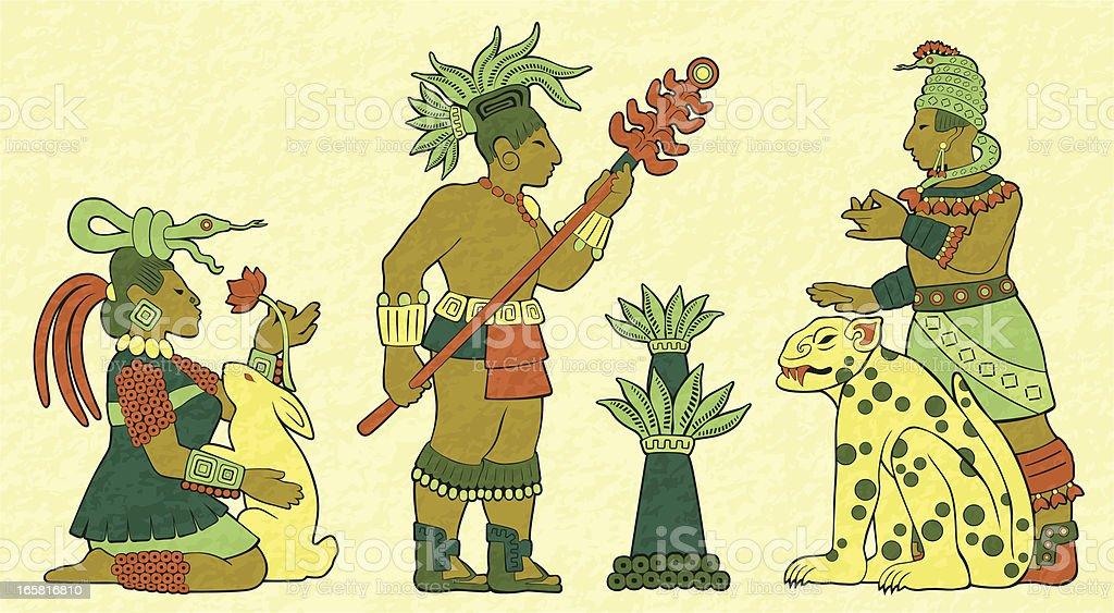 Mayan Mural royalty-free stock vector art