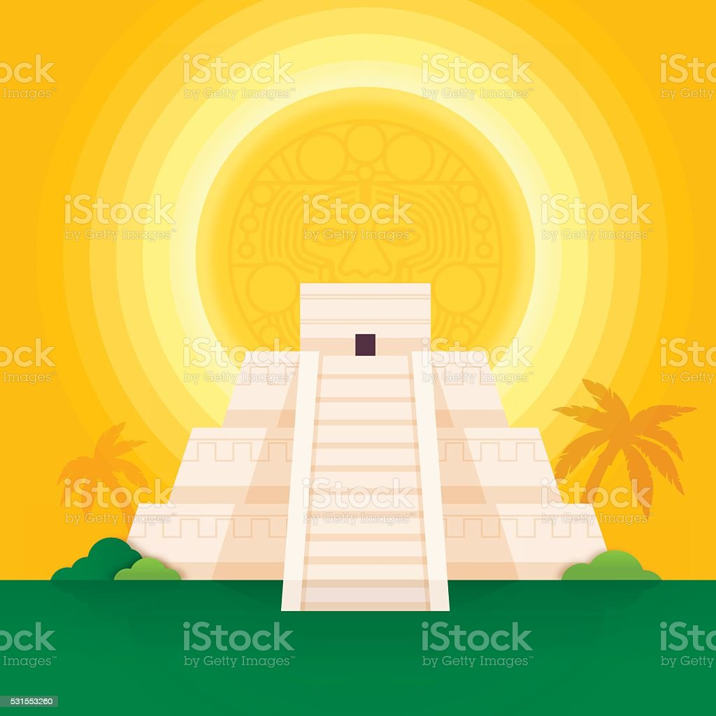 Mayan Pyramid vector art illustration
