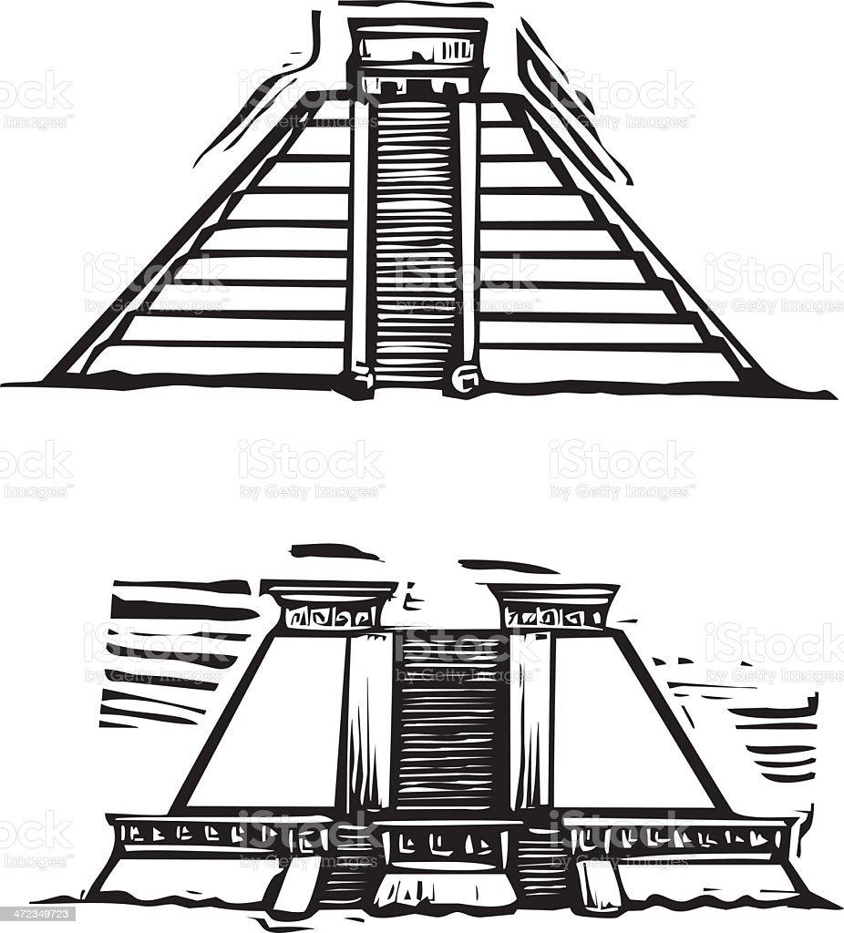 Mayan Pyramids royalty-free stock vector art