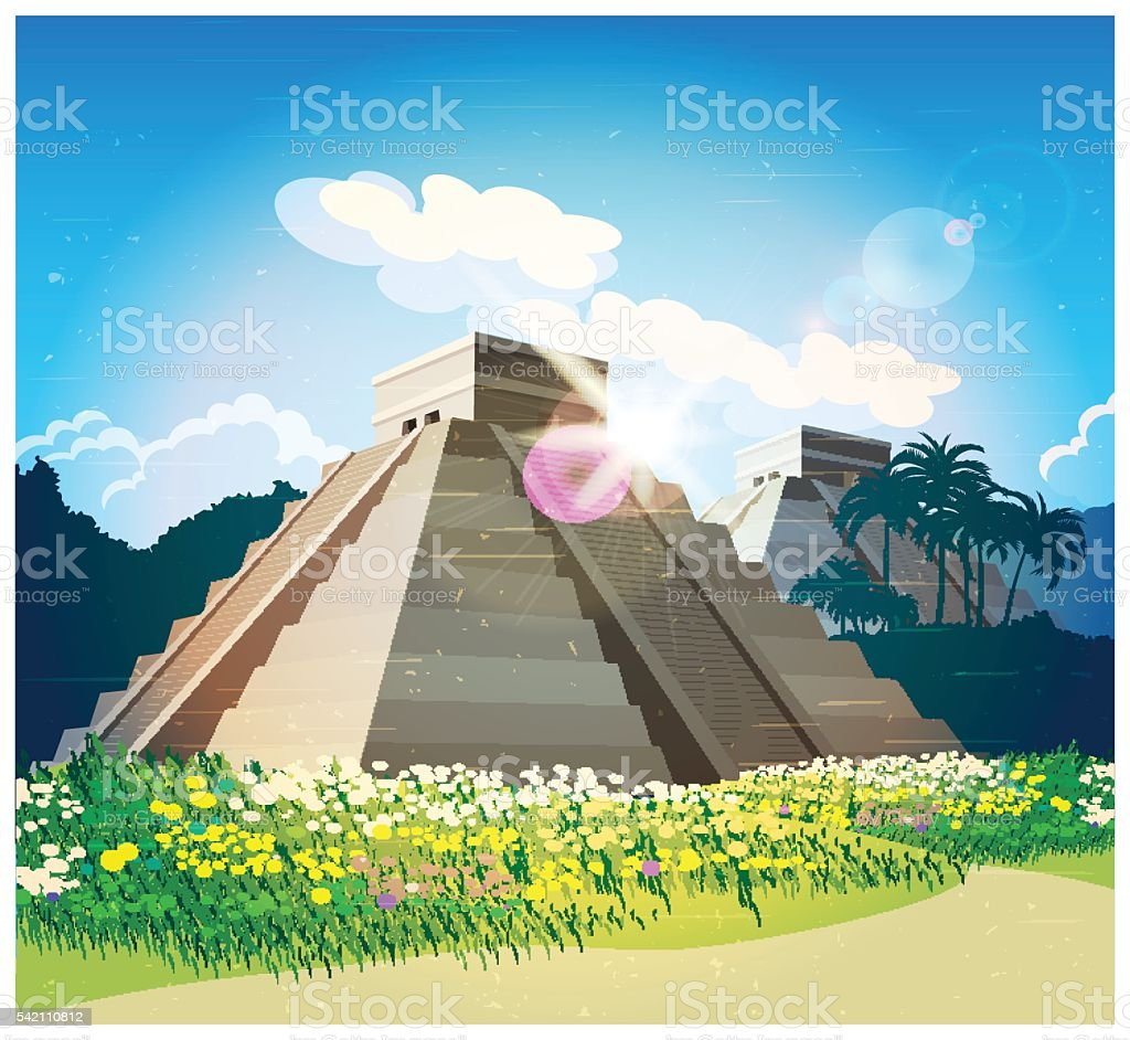 Mayan pyramids vector art illustration