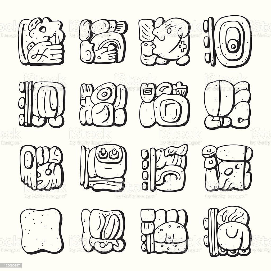 Mayan Symbol - Line-Art vector art illustration
