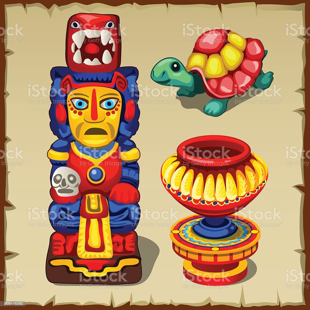 Mayan totem, the turtle and decorative vase vector art illustration