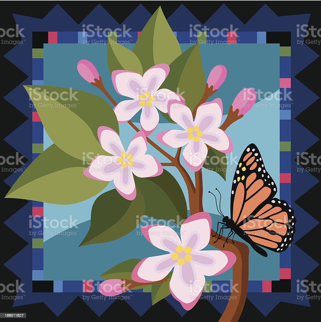 mayflowers and monarch butterfly royalty-free stock vector art