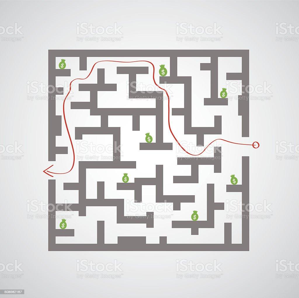 maze against game vector art illustration