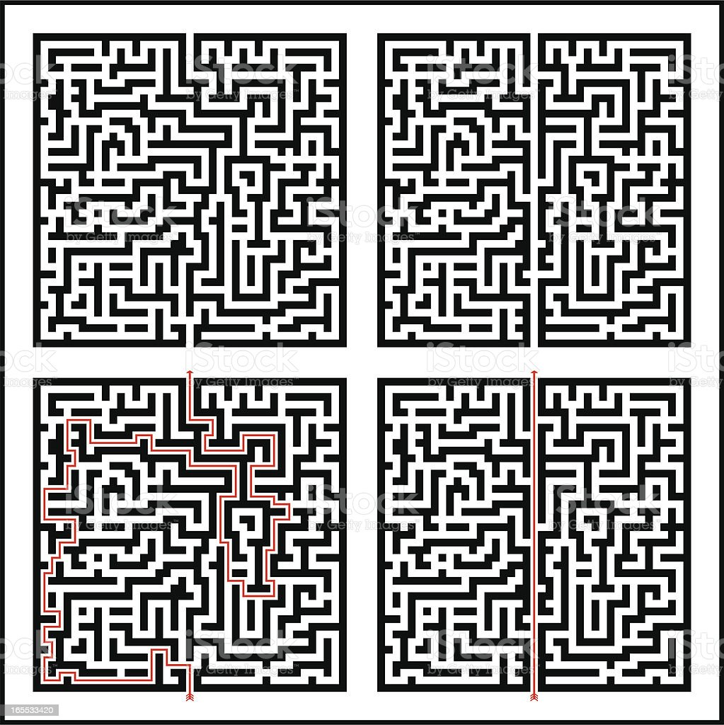 Maze; Difficult & Easy plus solutions royalty-free stock vector art