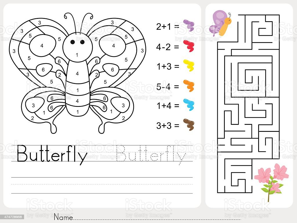 Maze game, Color by numbers - Worksheet for education vector art illustration