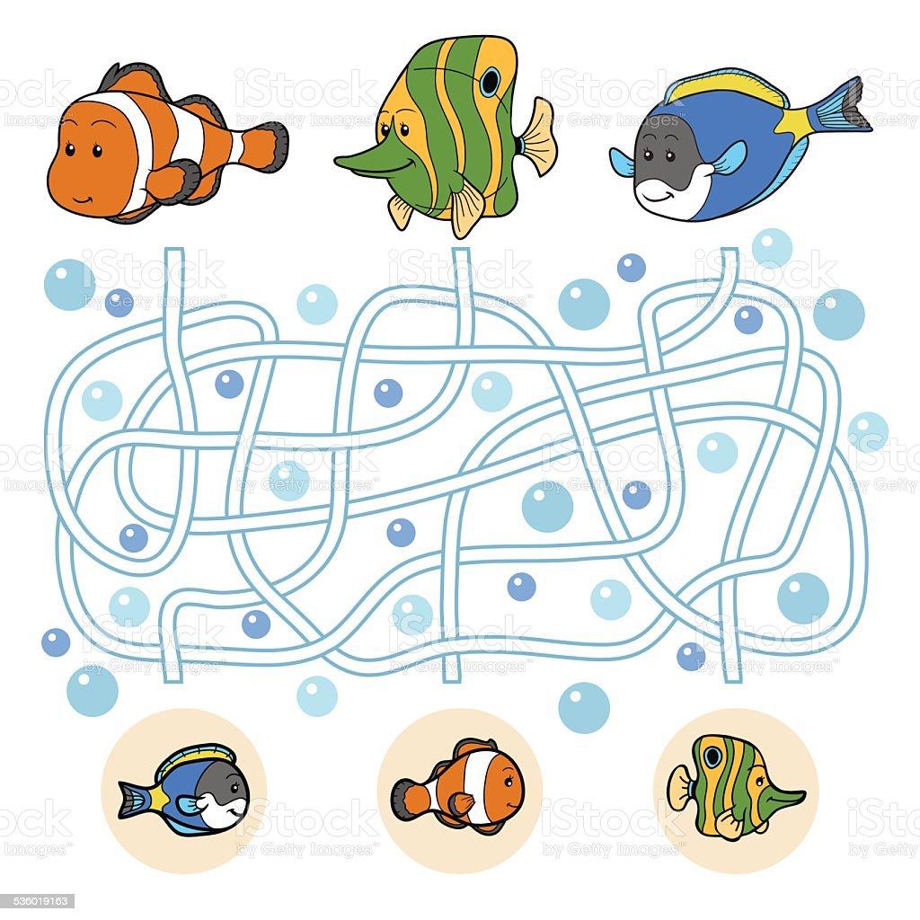 Maze game: fish family vector art illustration