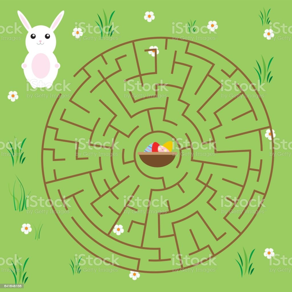 Maze game for children. fairytales theme. Help bunny find way to easter eggs vector art illustration