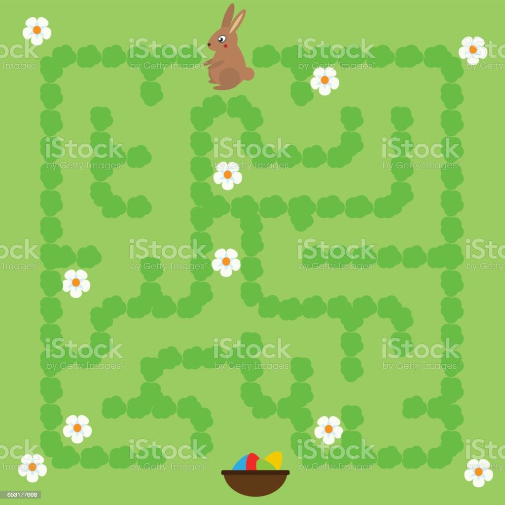 Maze game for children. Help bunny find way to Easter eggs vector art illustration