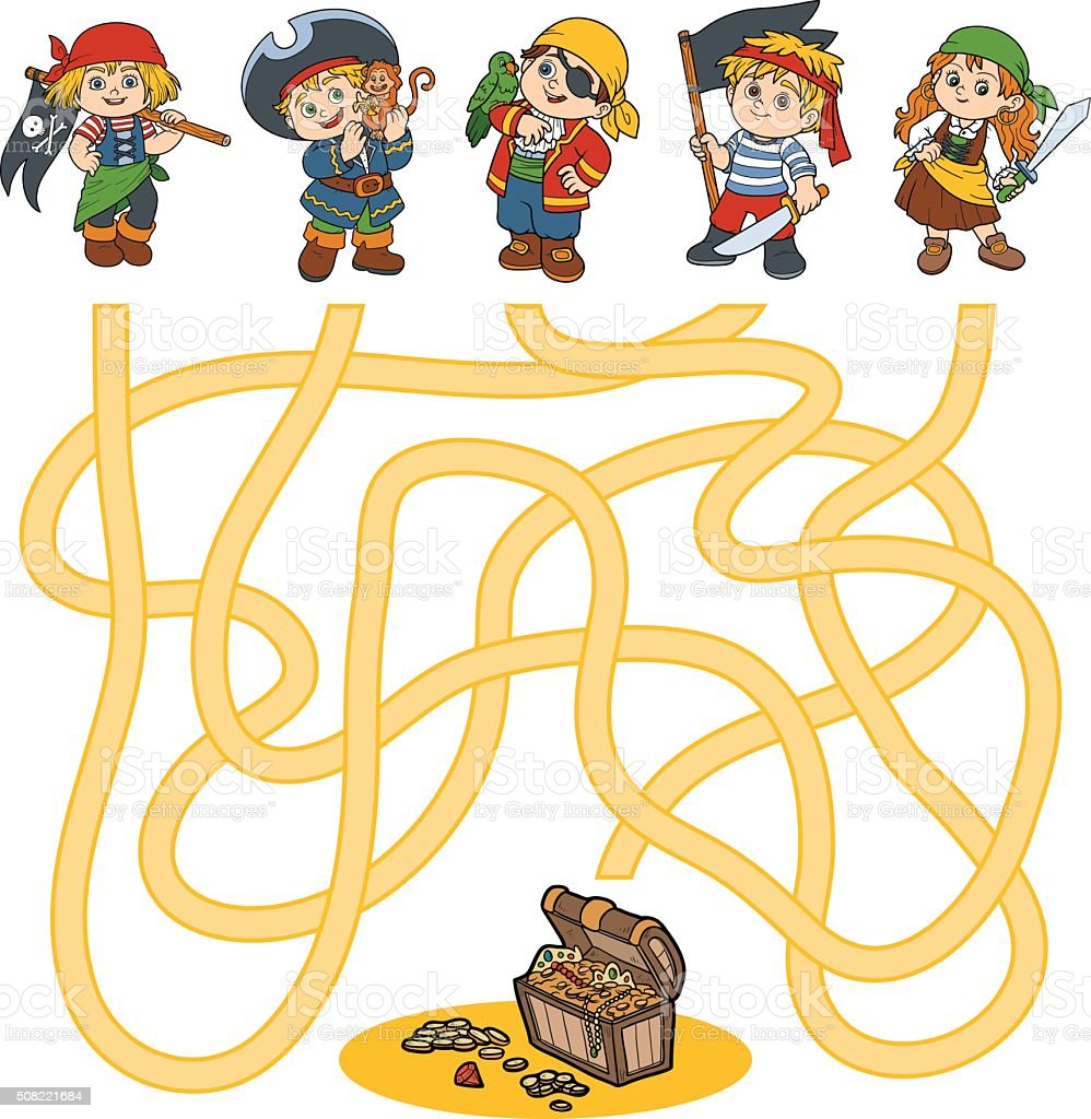 Maze game for children (characters of pirates) vector art illustration