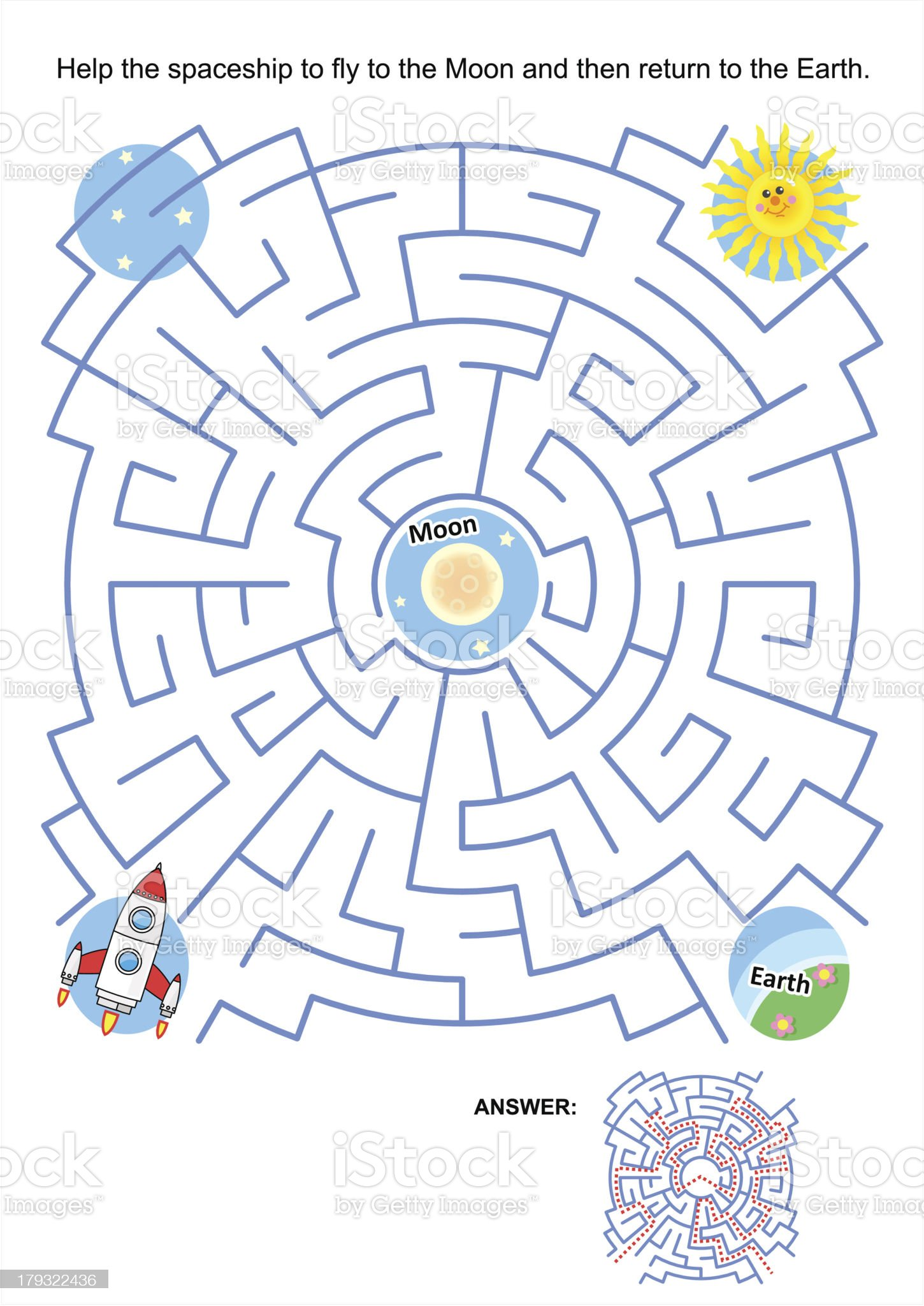 Maze game for kids - spaceship Moon flight royalty-free stock vector art