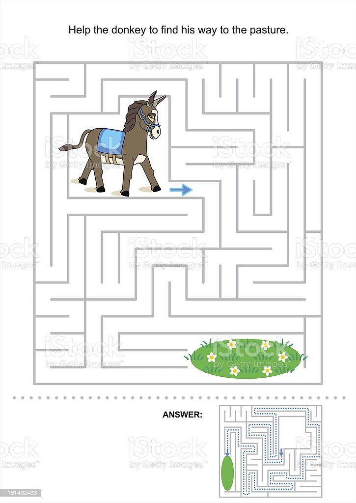 Maze game for kids with donkey royalty-free stock vector art