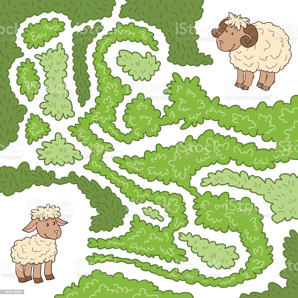 Maze game: Help the sheep to find the little lamb vector art illustration