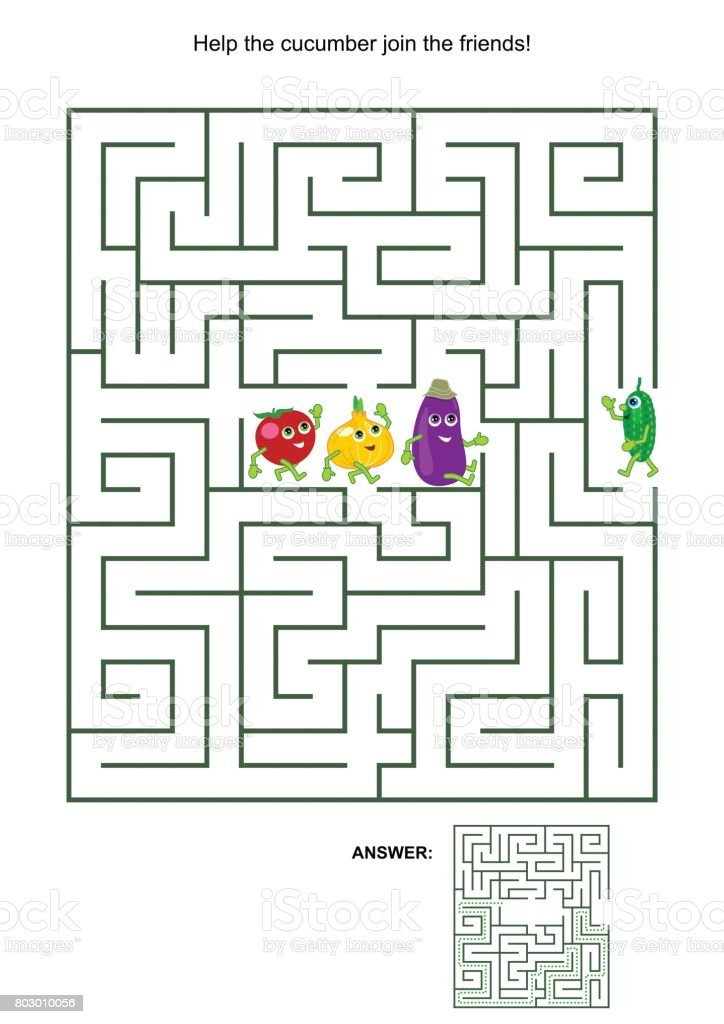 Maze game with cucumber and his vegetable friends vector art illustration