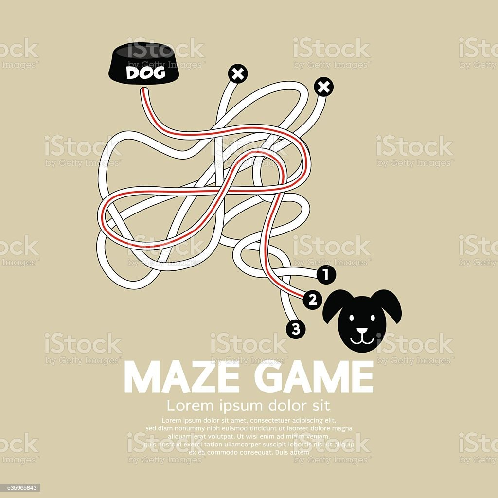 Maze Game With Dog And Bowl vector art illustration