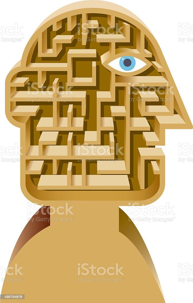 Maze head illustration vector art illustration