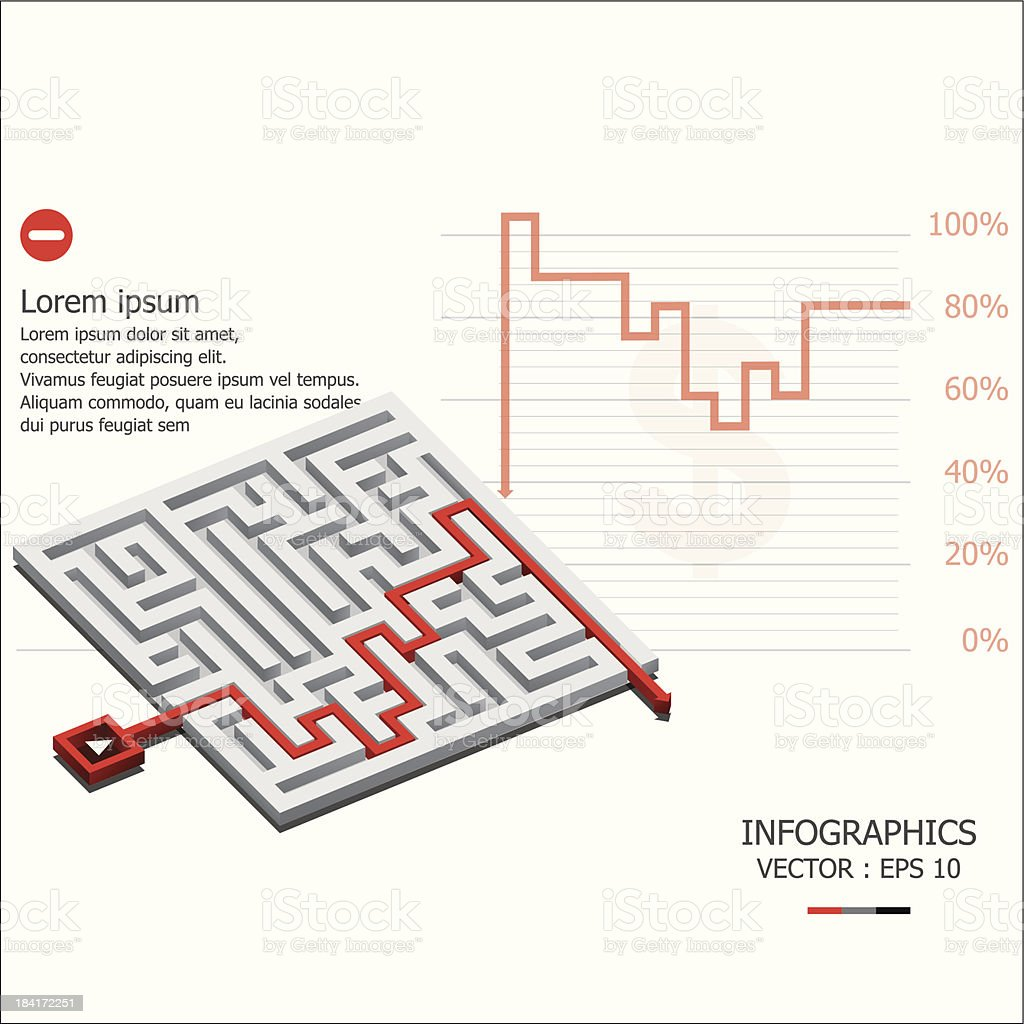 Maze Infographics Design Template royalty-free stock vector art