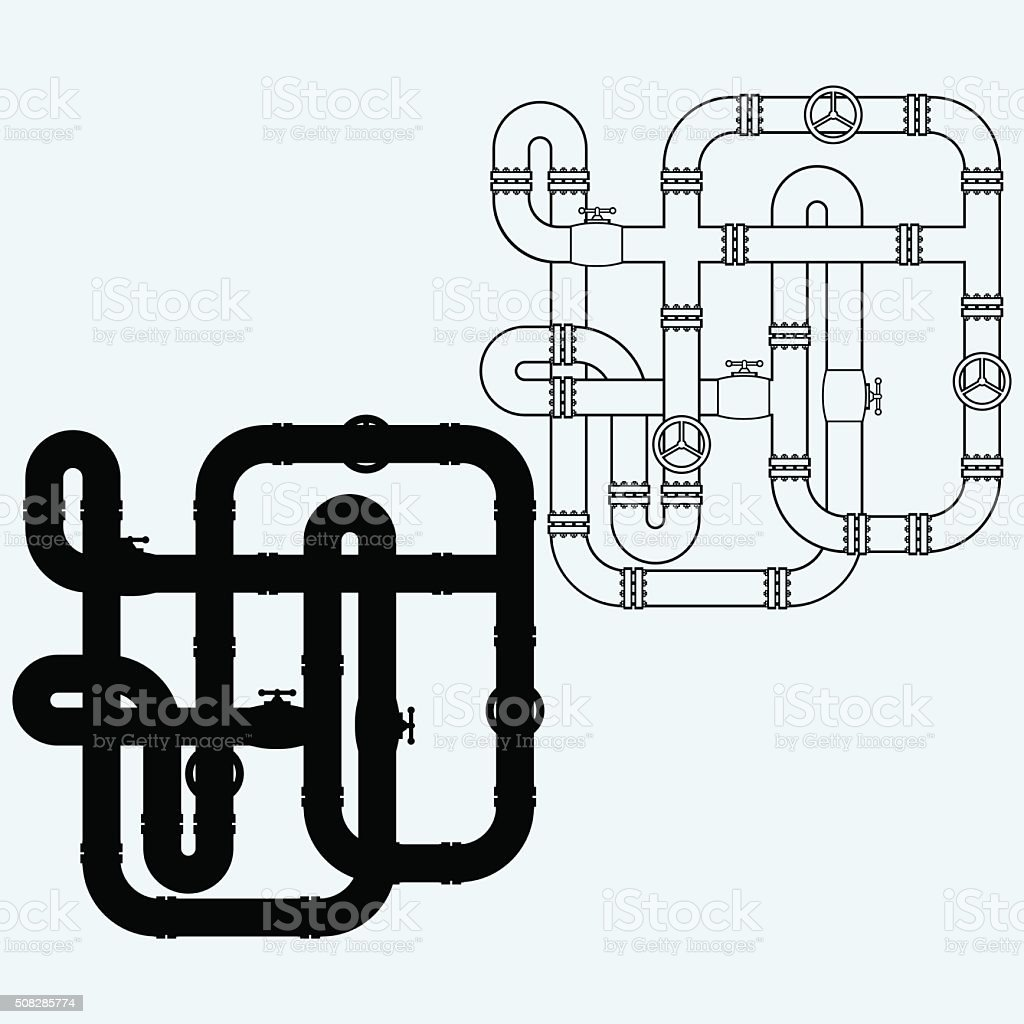 Maze of metal pipes, sewerage vector art illustration