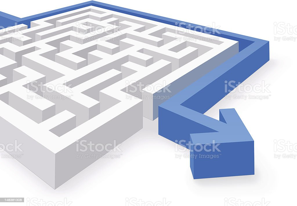 Maze Simple Solution vector art illustration