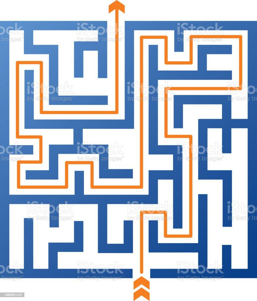 Maze solution vector art illustration