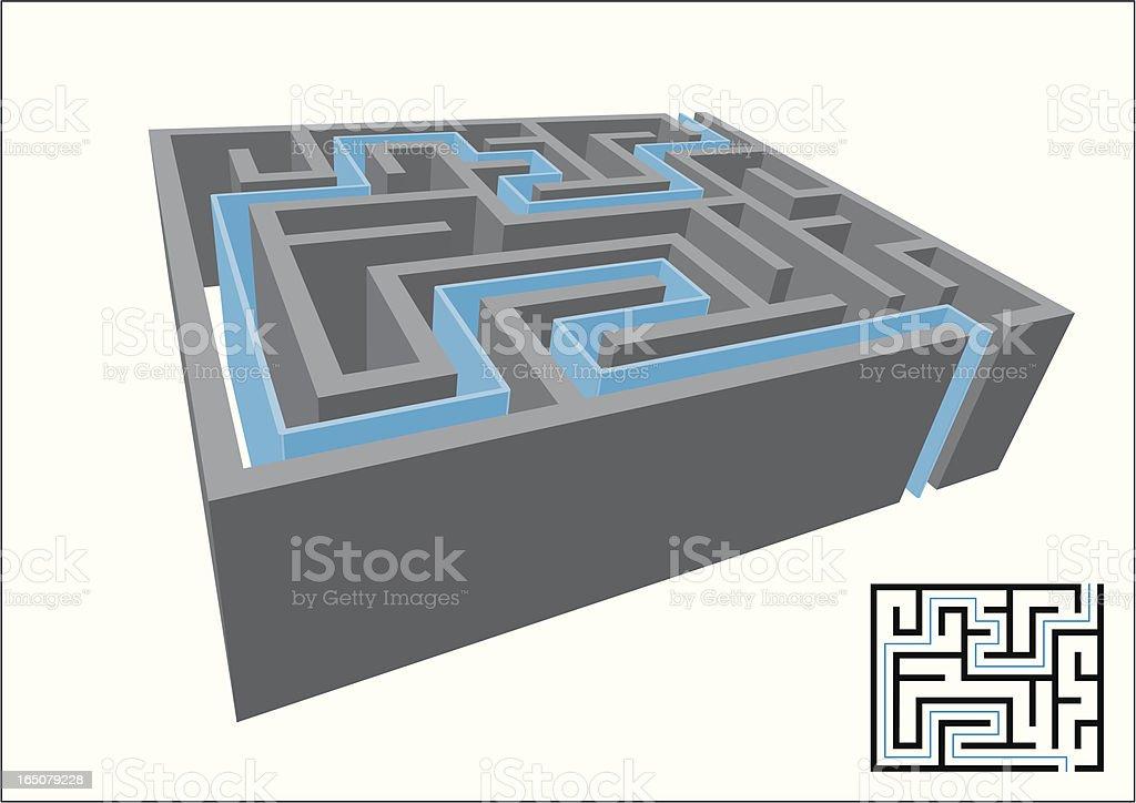 3D Maze, Solved royalty-free stock vector art