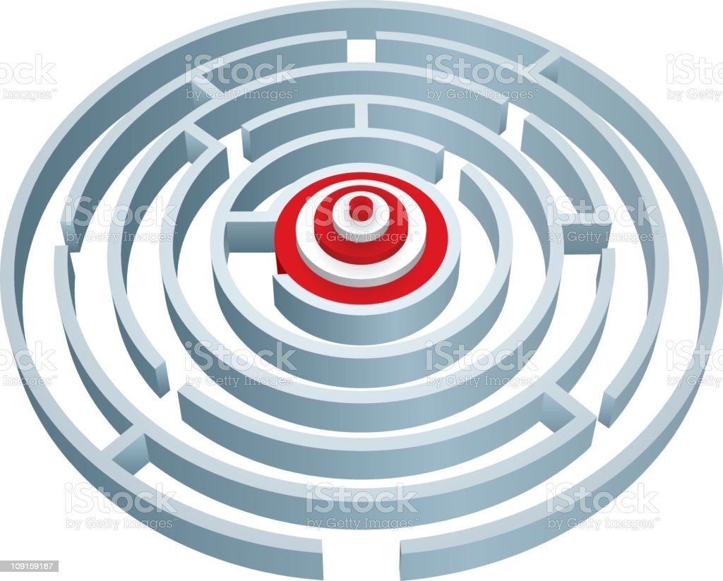 Maze to target royalty-free stock vector art