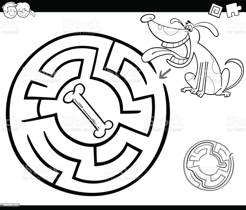 maze with dog coloring page stock vector art 696962280 istock