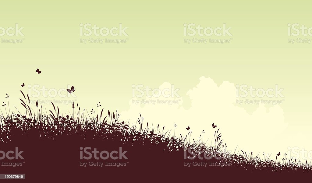 Meadow and sky vector art illustration