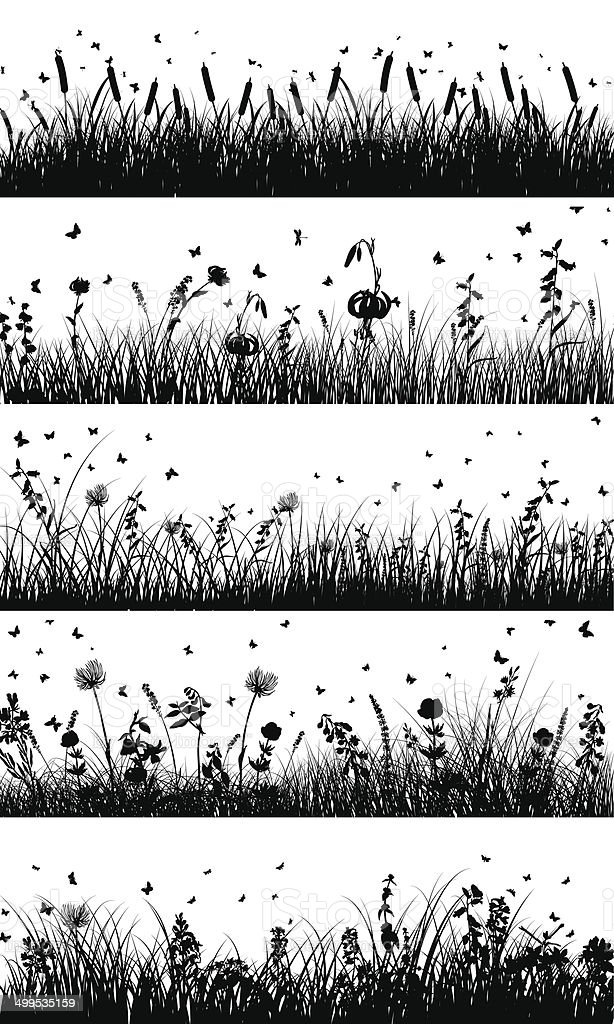 meadow background vector art illustration