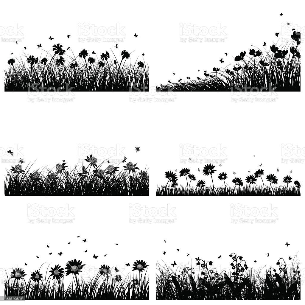 6 Meadow Backgrounds vector art illustration