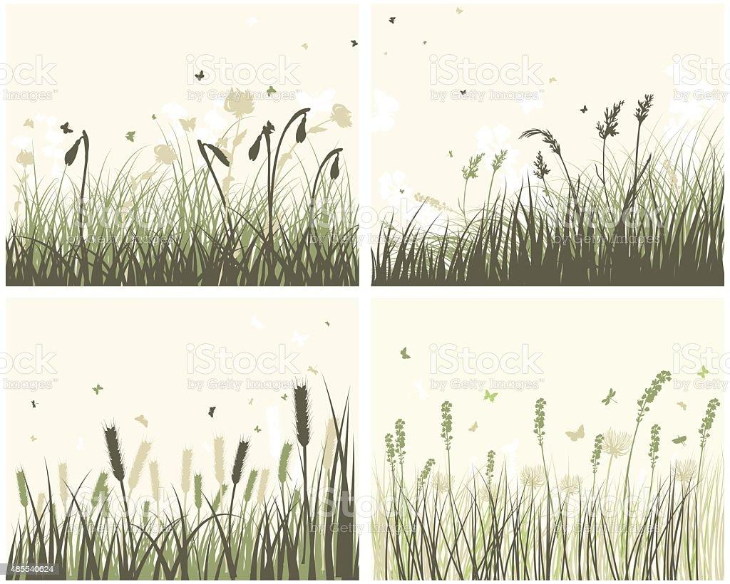 4 Meadow Backgrounds vector art illustration
